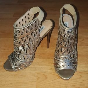 Steve Madden • Gold Caged Stiletto Sandal Heels